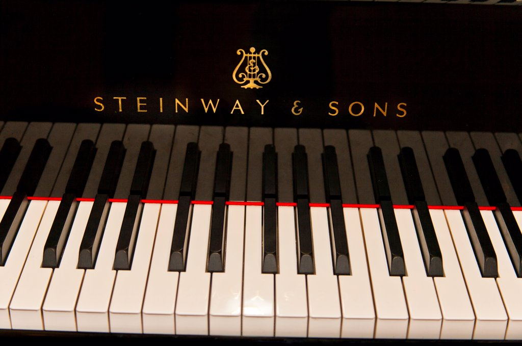 Stock Photo: 4290-9454 Close up of a Steinway and Sons grand piano keyboard