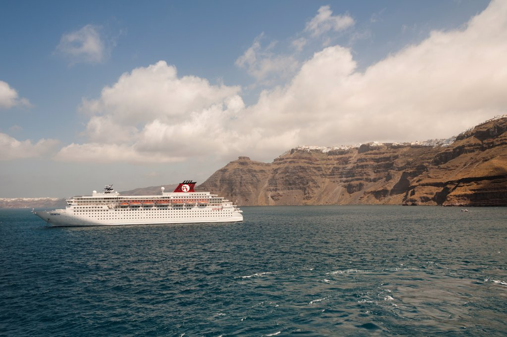 The Zenith cruise ship moored off the island of Santorini, Greece : Stock Photo
