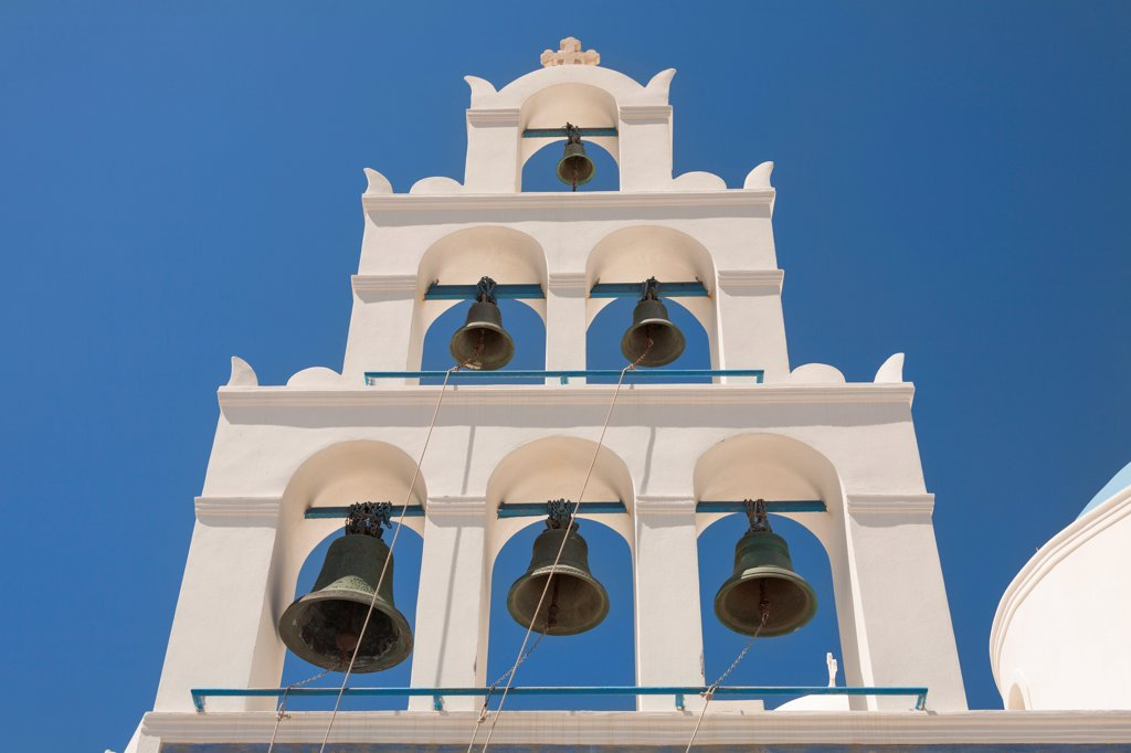 Stock Photo: 4290-9526 Bell tower of Panagia Platsani Church, Caldera Square, Oia, Santorini, Greece