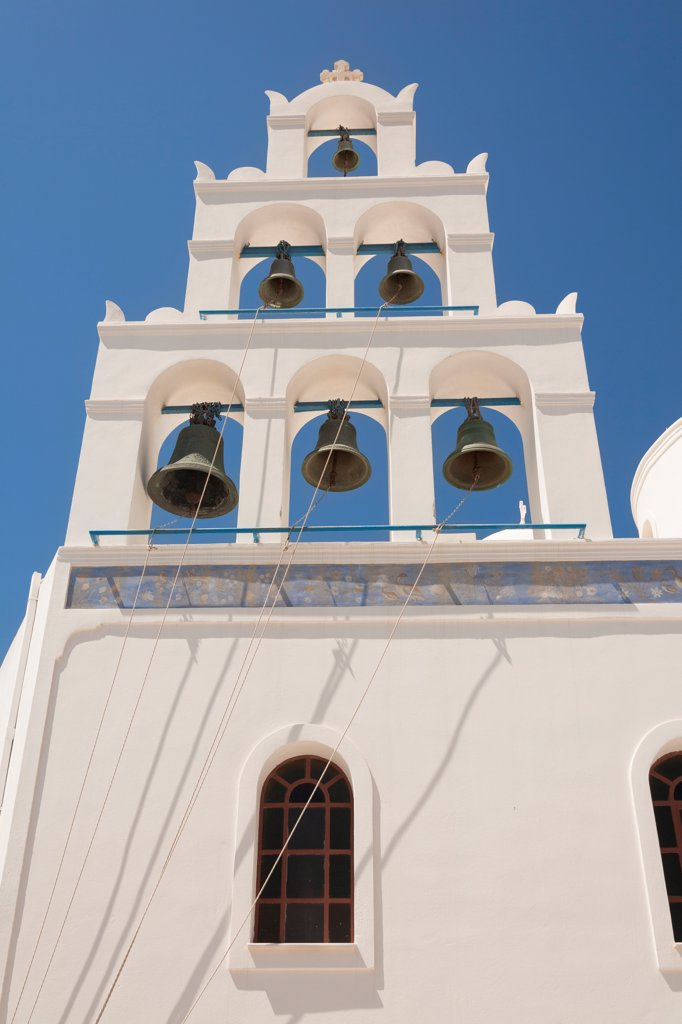 Stock Photo: 4290-9527 Bell tower of Panagia Platsani Church, Caldera Square, Oia, Santorini, Greece