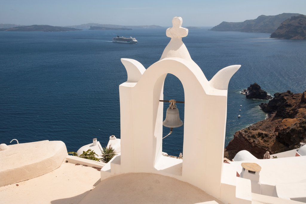 Stock Photo: 4290-9538 Bell tower and Aegean Sea, Oia, Santorini, Greece