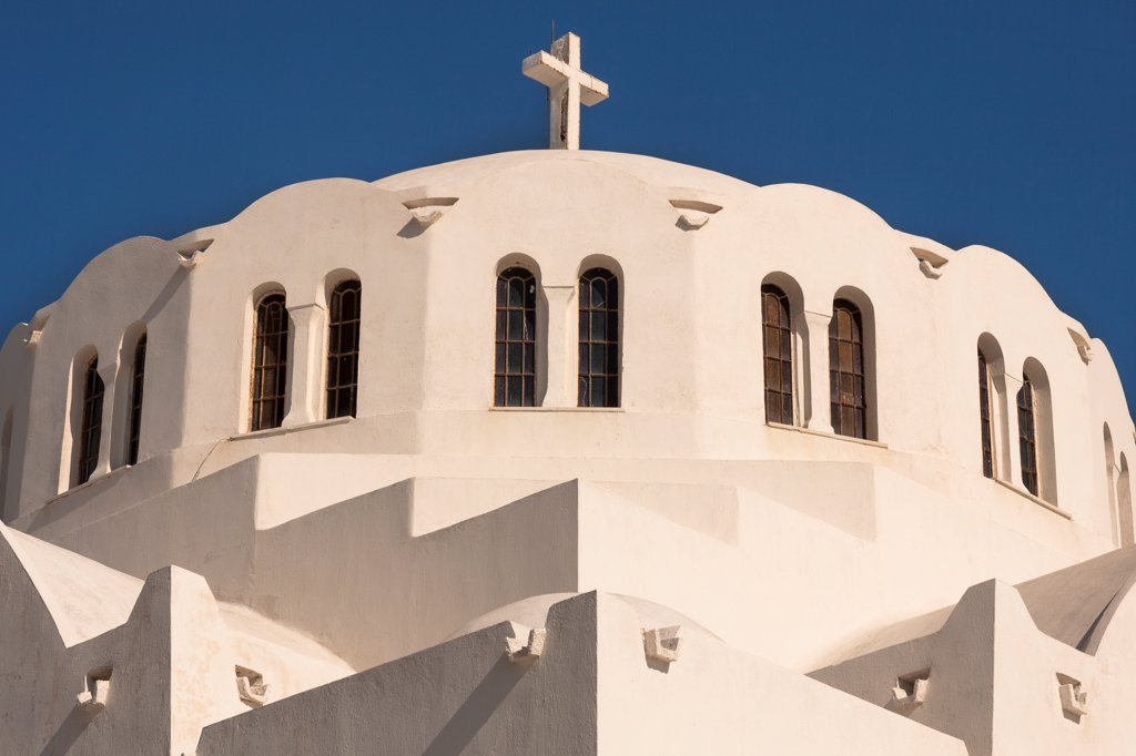 Stock Photo: 4290-9558 Orthodox Cathedral also known as Mitropolis, Fira, the capital town of Santorini, Greece