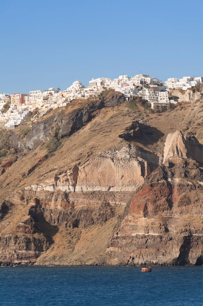 Stock Photo: 4290-9568 The clifftop town of Fira, the capital town of the Greek island of Santorini, Greece