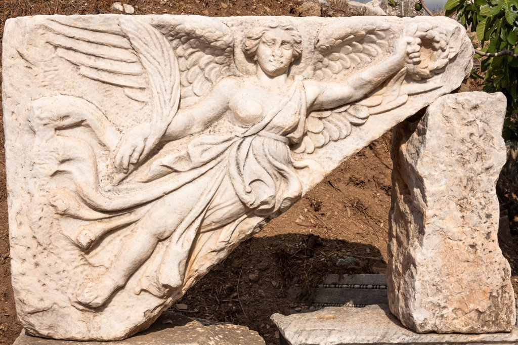 Stock Photo: 4290-9590 Relief of the Goddess of Victory Nike, Ephesus, Turkey