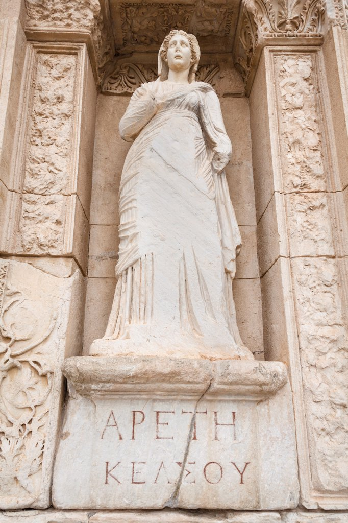 Statue of Arete, in the wall of the Celsus Library, Ephesus, Turkey : Stock Photo