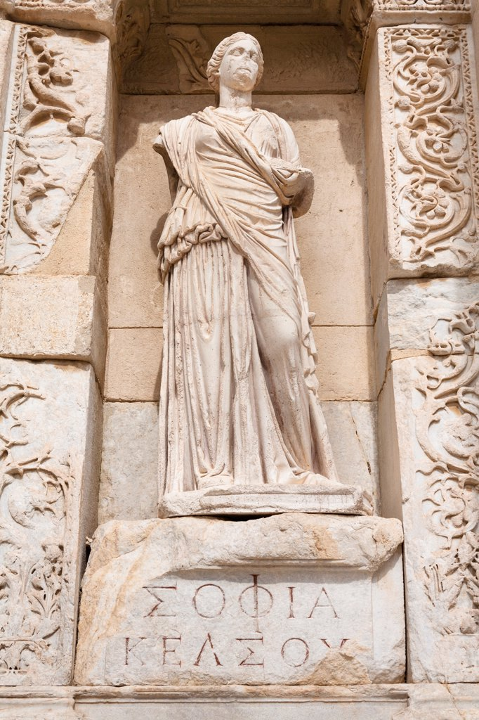 Stock Photo: 4290-9605 Statue of Sophia, in the wall of the Celsus Library, Ephesus, Turkey