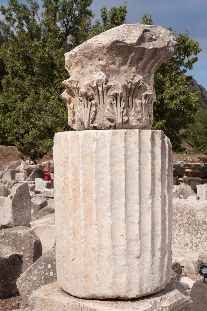 Carved stone column, Ephesus, Turkey : Stock Photo