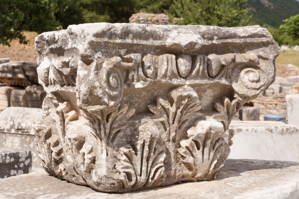 Stock Photo: 4290-9609 Carved stone exhibit, Ephesus, Turkey