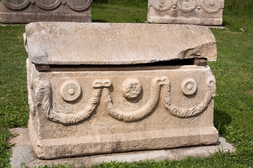 Carved stone sarcophagus exhibit, Ephesus, Turkey : Stock Photo