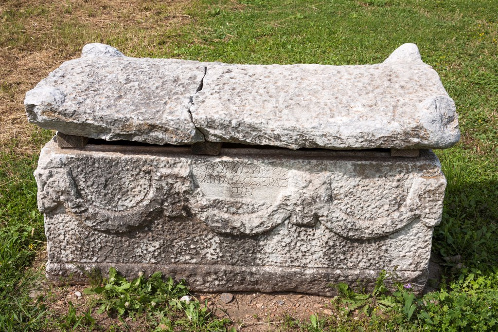 Stock Photo: 4290-9613 Carved stone sarcophagus exhibit, Ephesus, Turkey
