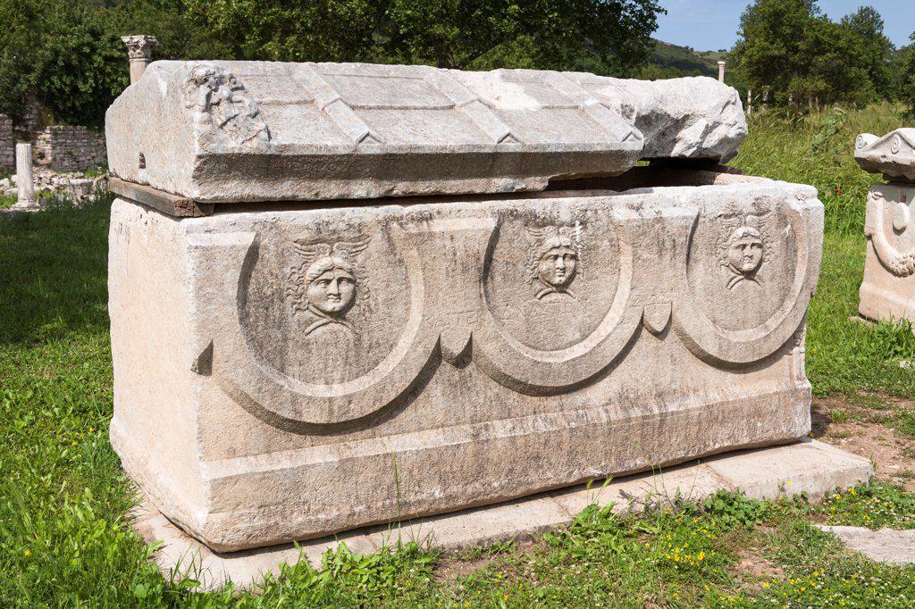 Carved stone sarcophagus exhibit, Ephesus, Turkey : Stock Photo