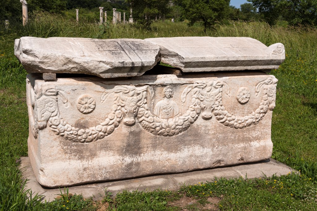 Stock Photo: 4290-9615 Carved stone sarcophagus exhibit, Ephesus, Turkey