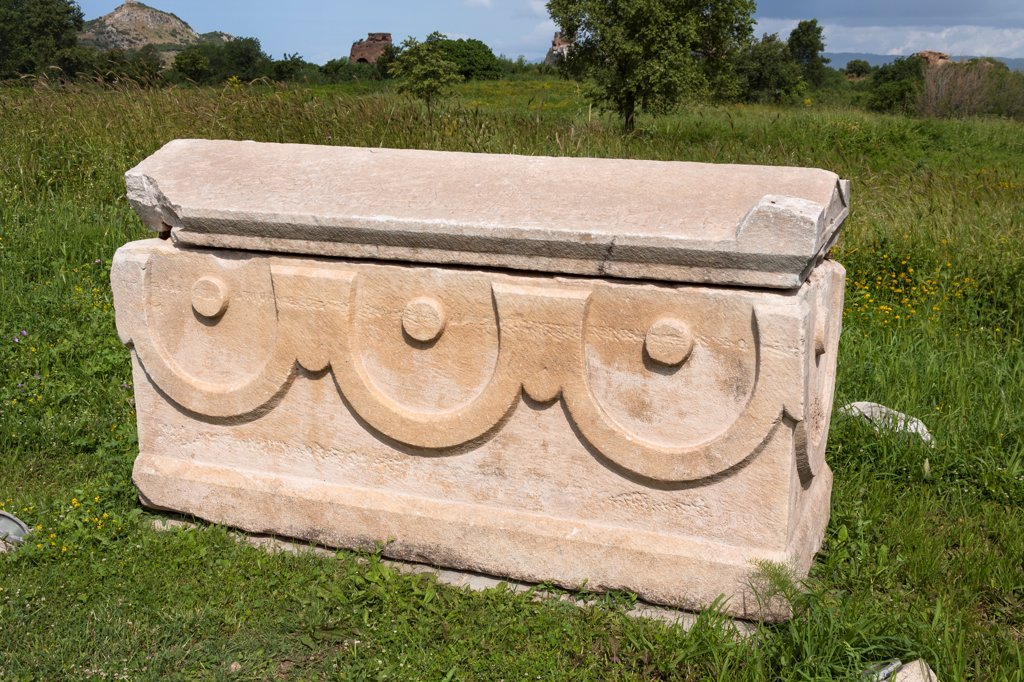 Stock Photo: 4290-9618 Carved stone sarcophagus exhibit, Ephesus, Turkey