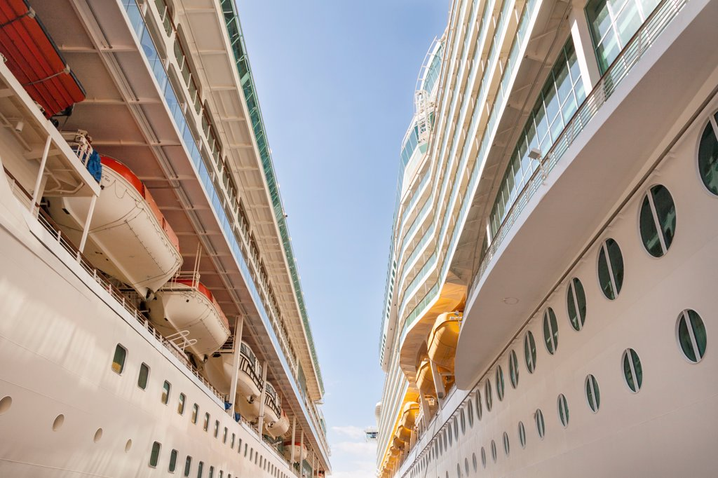 Stock Photo: 4290-9654 Royal Caribbean cruise ships, Splendour of the Seas on left, Navigator of the Seas on right, berthed at Kusadasi, Turkey
