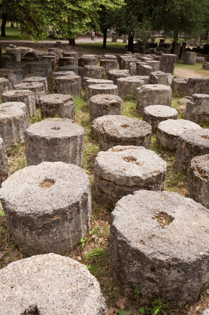 Stock Photo: 4290-9671 Sections of several historic columns, Olympia, Greece