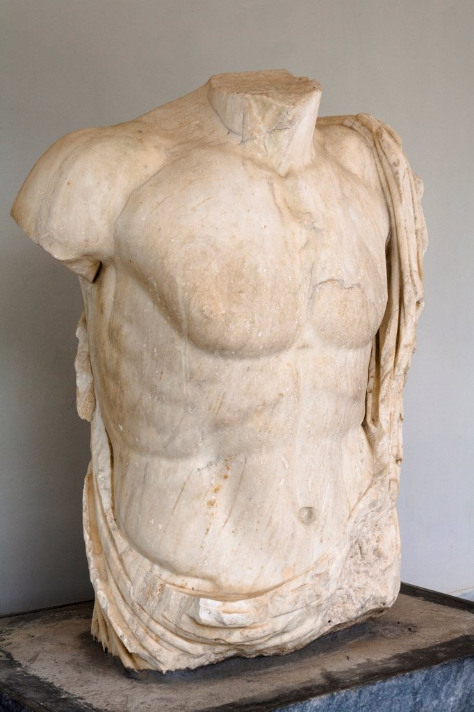 Exhibit at new wing of Olympia Archaeological Museum, also known as Historical Museum of Olympic Games, Olympia, Greece : Stock Photo