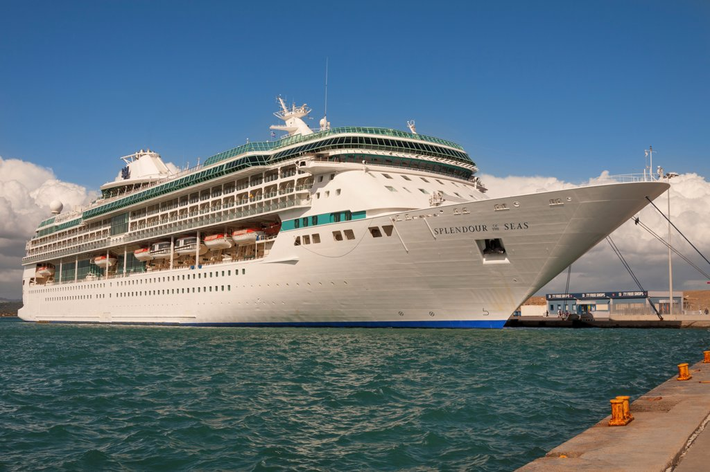 Stock Photo: 4290-9702 Splendour of the Seas cruise ship moored at the quayside, Katakolon, Greece