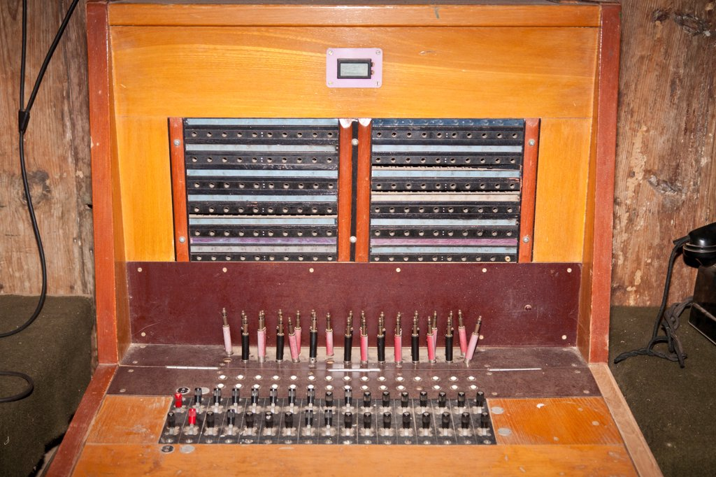 Switchboard exhibit, Transportation Museum of China, Burma, India Theater in World War II, Yunnanyi, Yunnan Province, China : Stock Photo