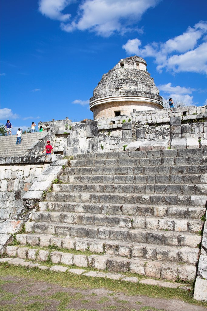 El Caracol, The Observatory, Chichen Itza Archaeological Site, Chichen Itza, Yucatan State, Mexico : Stock Photo