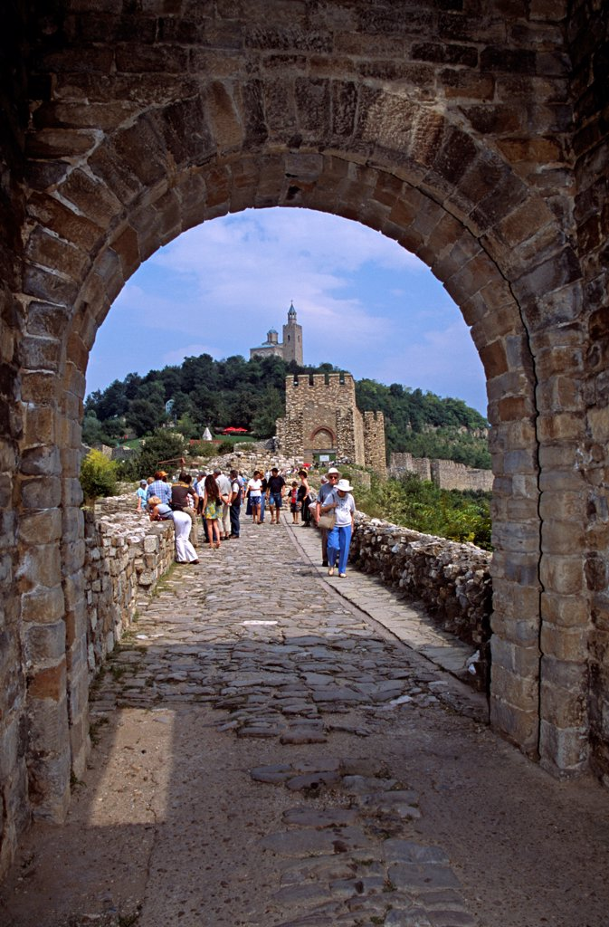 Entrance to Tsarevets Fortress and Church of the Blessed Saviour, Veliko Tarnovo, Bulgaria : Stock Photo