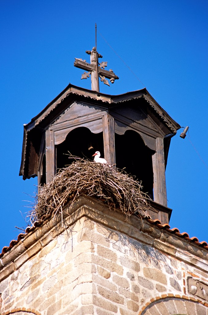 Stock Photo: 4290-9958 Stork on nest, Holy Trinity Church, Sveta Troitsa Church, clock and bell tower Bansko Bulgaria