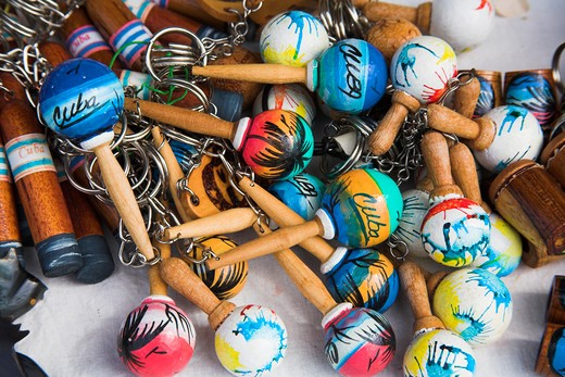 Stock Photo: 4291-13066 Maracas key rings for sale in a market, Havana, Cuba