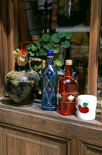 Stock Photo: 4291-13240 Display of hand painted glass bottles, mug and pot outside gift and craft shop, Veliko Tarnovo, Bulgaria