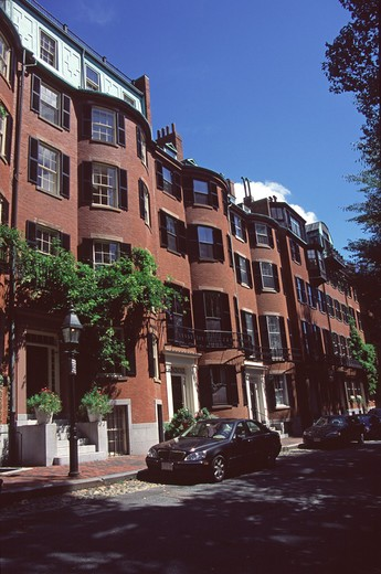 Red brick buildings, Beacon Hill area, Boston, Massachusetts, New England, USA : Stock Photo