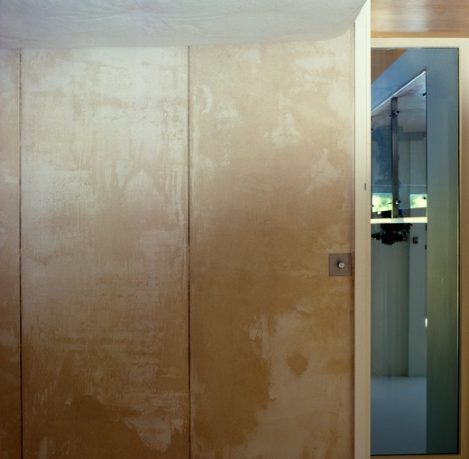 Close-up of modern storage cupboard doors : Stock Photo