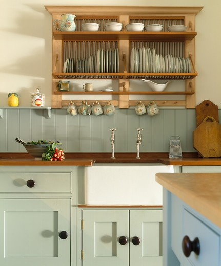 Pale Green Kitchen Units: Wooden Plate Rack Above White Belfast Sink In Kitchen With