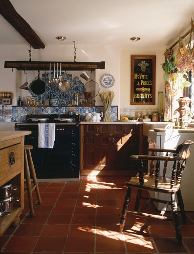 Black Aga Below Blue And White Tiles In Country Kitchen With