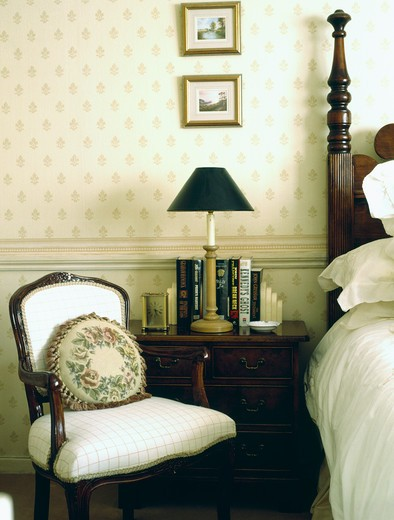 Stock Photo: 4291-19428 Tapestry cushion on small Victorian chair in neutral bedroom with wallpaper