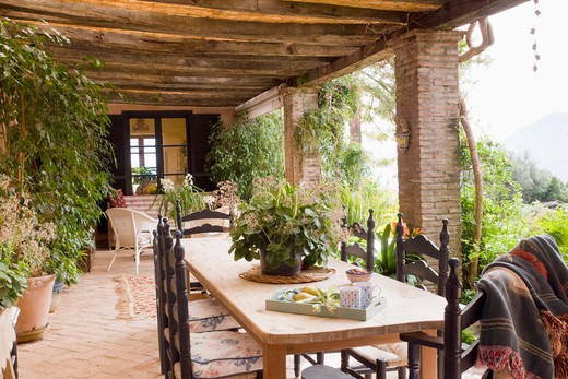 Rustic terrace outside villa : Stock Photo
