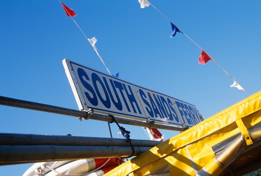 Stock Photo: 4291-20944 South Sands Ferry sign in Devon