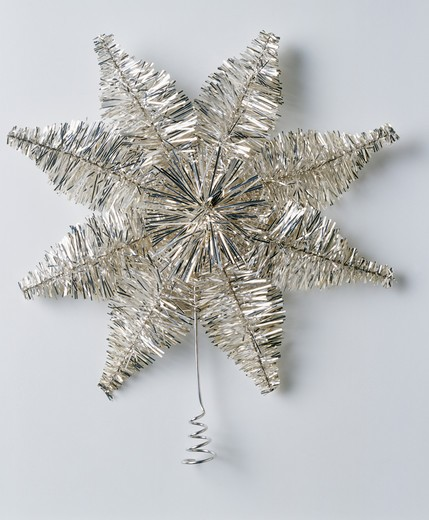Stock Photo: 4291-23507 Close-up of silver tinsel Christmas star