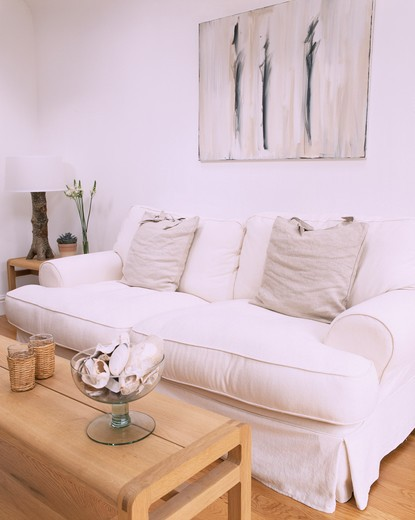 Stock Photo: 4291-24047 Abstract picture above white sofa with loosecover and grey cushions in modern white living room