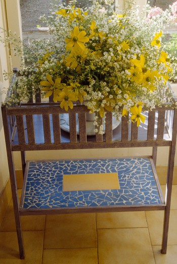 Stock Photo: 4291-25445 Close-up of branches of yellow blossom in vase on blue enamelled table