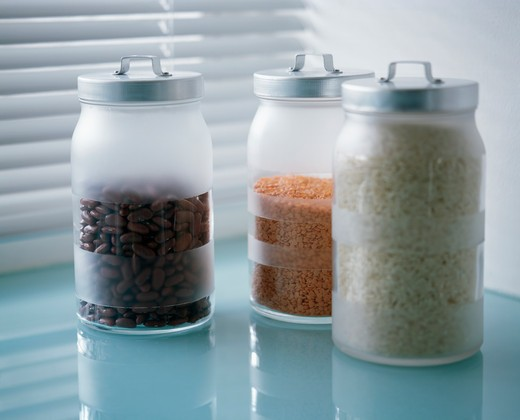 Stock Photo: 4291-3360 Close-up of hand-etched glass storage jars