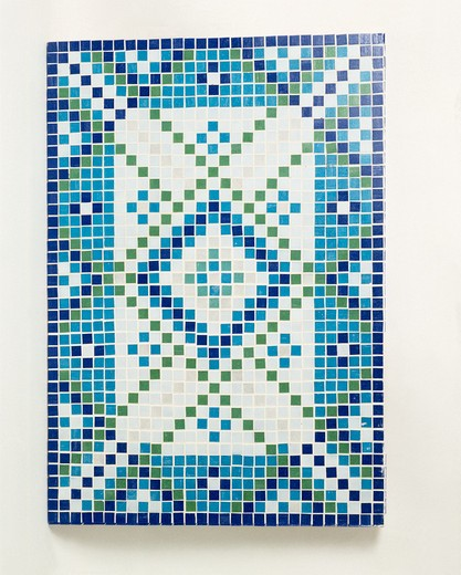 Stock Photo: 4291-6000 Close-up of blue and white mosaic tiled table top