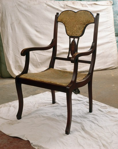 Stock Photo: 4291-6916 Antique chair before stripping.