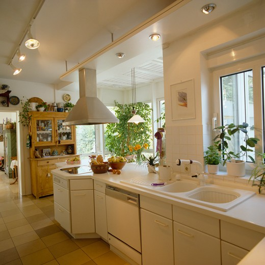 Stock Photo: 4291-7575 Spotlights on ceiling tracks in modern white kitchen with double white sinks
