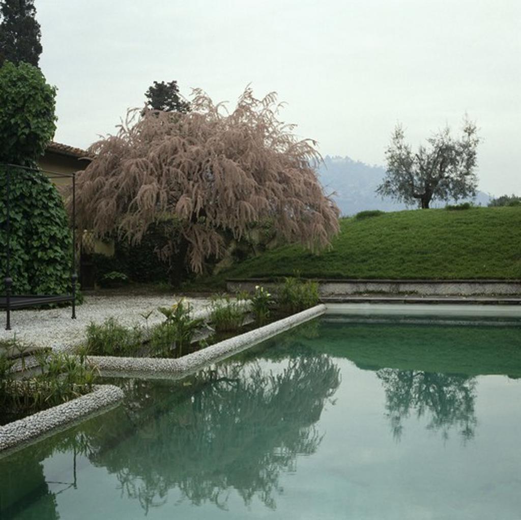 Swimming pool in Italian country garden : Stock Photo