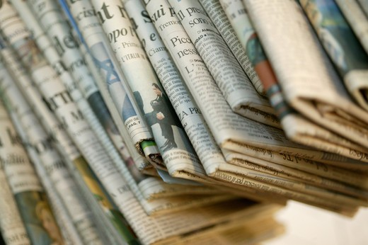Stock Photo: 4292-100601 Stack of newspapers