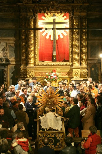 Stock Photo: 4292-100625 Italy, Gubbio. Holy Friday procession