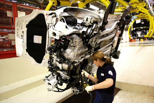 Stock Photo: 4292-100756 Italy, Piedmont, Turin, Mirafiori. Worker Fiat car factory assembling plant
