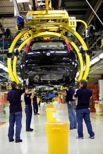 Stock Photo: 4292-100758 Italy, Piedmont, Turin, Mirafiori. Fiat car factory assembling plant