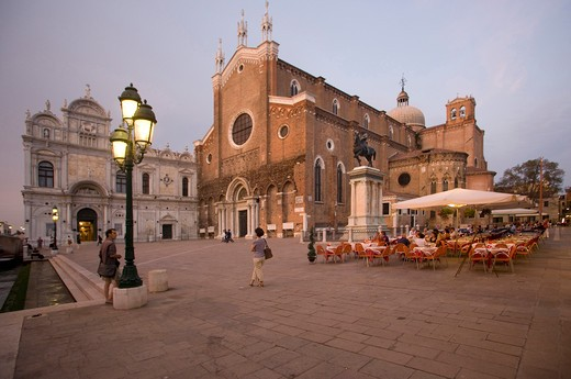 Italy, Veneto, Venice, Campo SS Giovanni e Paolo, Church and Scuola Grande di San Marco at Dusk : Stock Photo