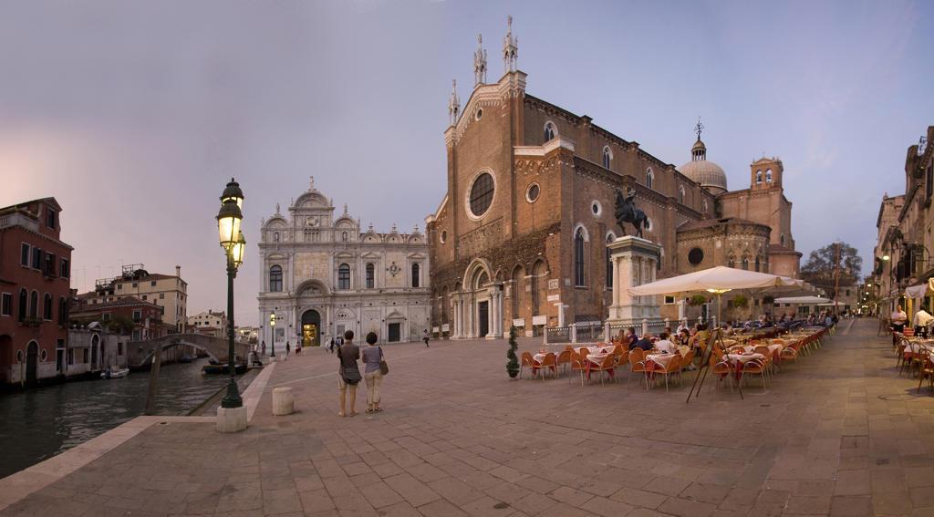 Italy, Veneto, Venice, Campo SS Giovanni e Paolo, Church and Scuola Grande di San Marco at Dusk : Stock Photo