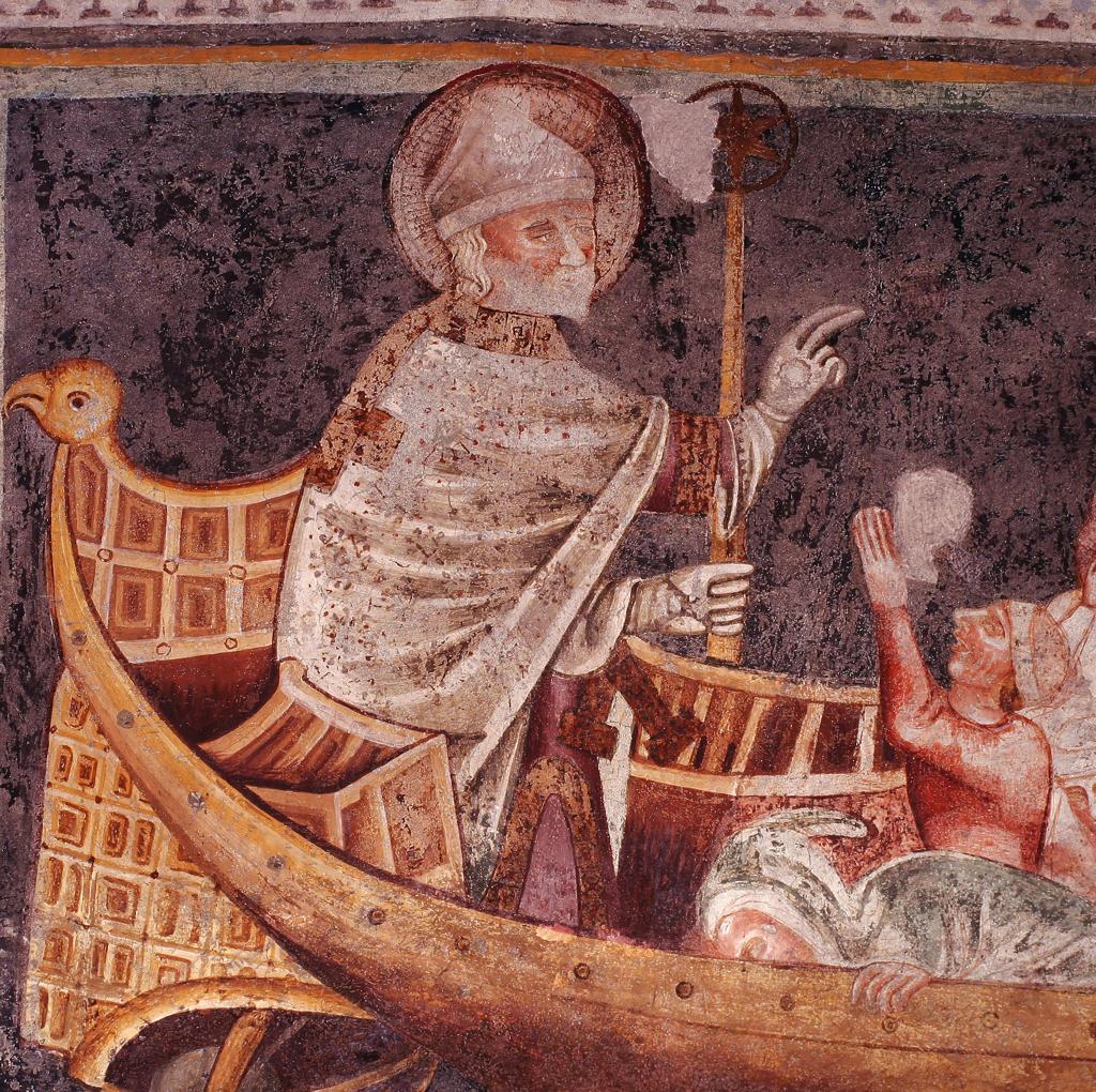Italy, Trentino Alto Adige, Terlano.Fresco in church : Stock Photo