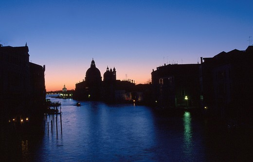 Italy, Veneto, Venice, Santa Maria della Salute and the Canal Grande at sunset : Stock Photo